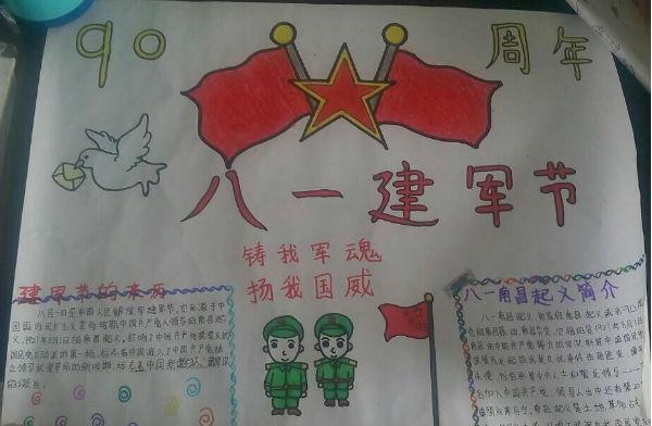 金沙路小学二部开展建军节手抄报活动-南昌县教育科技